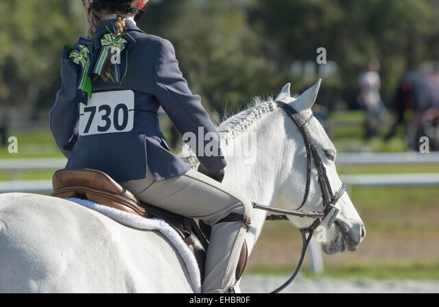 Youth show jumping competition - Stock Image