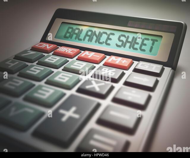 Calculator with the words balance sheet, illustration. - Stock-Bilder