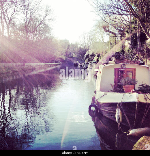 London, UK Sunset In The Canal - Stock Image