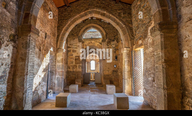 Alcuescar, Spain - September 17, 2017: Visigothic Basilica of Santa Lucia del Trampal. Main nave view - Stock Image