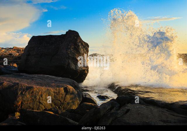 Evening, moody, cliff, rock, cliff coast, water, Great Britain, Highland, highlands, coast, coastal scenery, scenery, - Stock Image