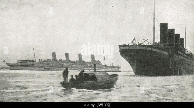 Ocean liners  Aquitania & Olympic (Titanic's sister ship) on war service, WW1 - Stock Image