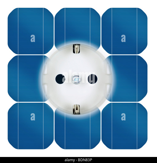 Outlet with power from solar power - Stock-Bilder