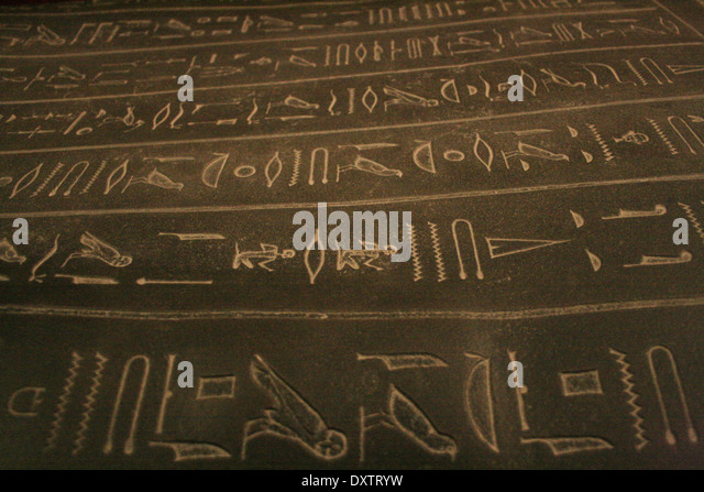 Ancient hieroglyphics on Tabnit Sarcophagus in Istanbul Archeological Moseum - Stock-Bilder