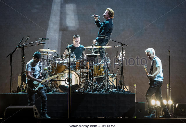 Irish band U2 performs live on stage at Stadio Olimpico in Rome on July 15, 2017 - Stock Image