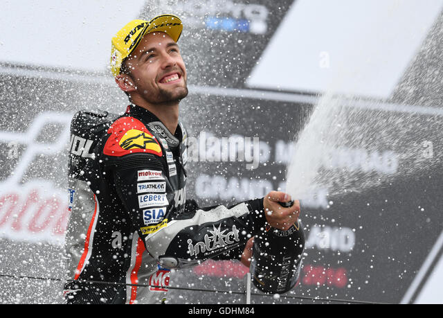 Hohenstein-Ernstthal, Germany. 17th July, 2016. The German Moto2 riders Jonas Folger from Dynavolt Intact GP Team - Stock Image