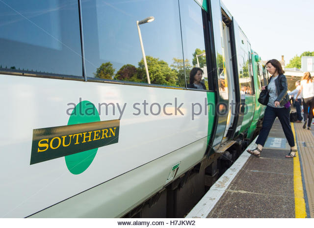 File photo dated 11/06/15 of a Southern rail train. Aslef, the biggest train drivers' union has suspended a - Stock Image