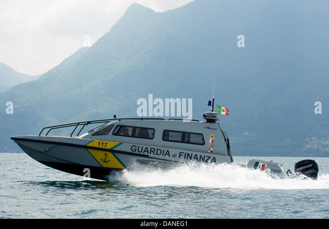 High speed patrol boat FB Design of Guardia di Finanza on Swiss/Italian border, Lake Maggiore. - Stock Image