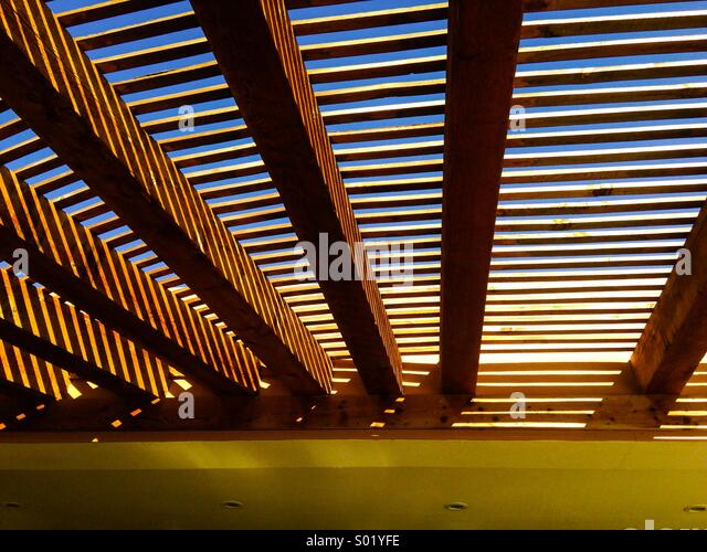 Wooden slatted covering over a beachside bar in Baja California - Stock-Bilder