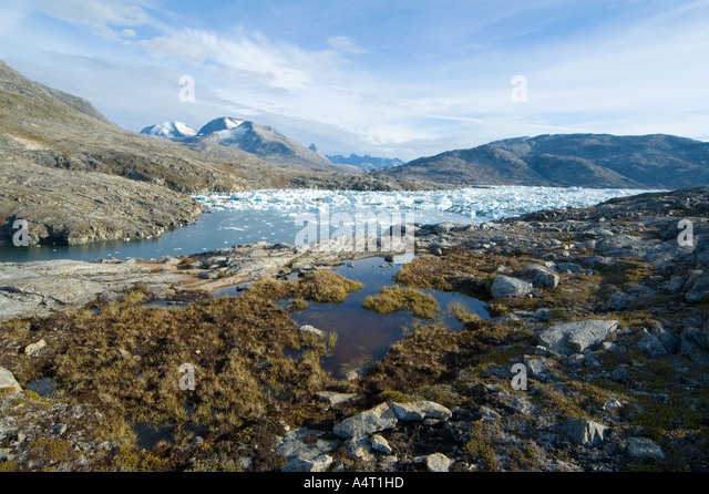 At Paornakajît, an abandoned Inuit settlement, Sermilik Fjord, East Greenland - Stock Image