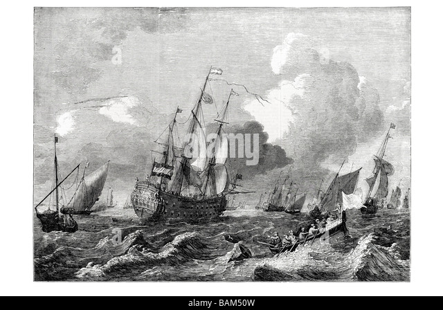 a brisk gale at sea painted by Ludolf Backhuysen Dutch painter sea-pieces sea sail sailing boat wind ship waves - Stock Image