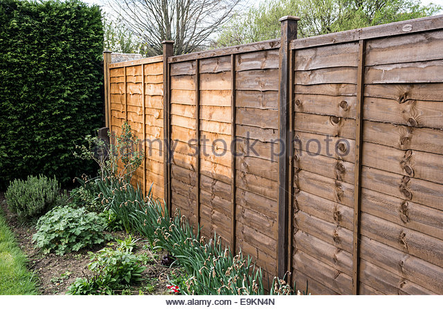 Fencing only half painted - Stock Image
