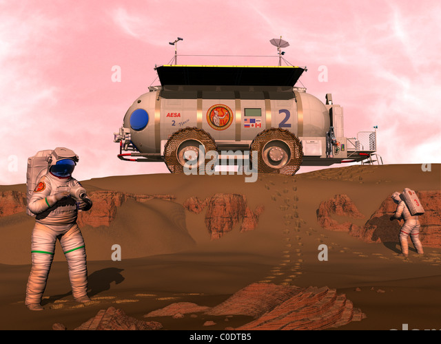 Illustration of astronauts examining an outcrop of sedimentary rock on a Martian dune field. - Stock-Bilder
