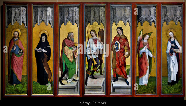 Master of the Legend of St George (active in Cologne 1460 – 1490 ) Panels from a Polyptych 1485  German Germany - Stock Image
