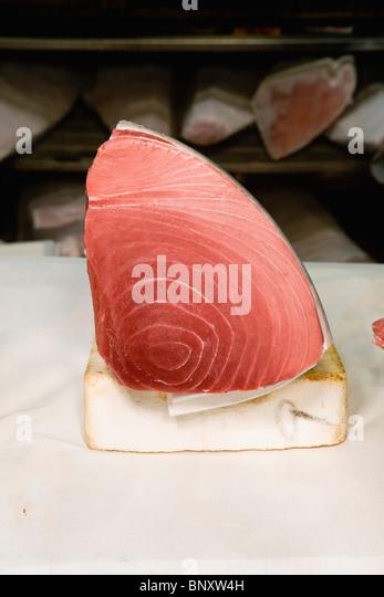 Fresh tuna in market - Stock Image