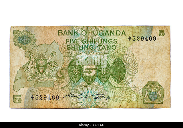 Used Bank Note, Uganda 5 Shillings, East Africa Currency from 1982 - Stock Image