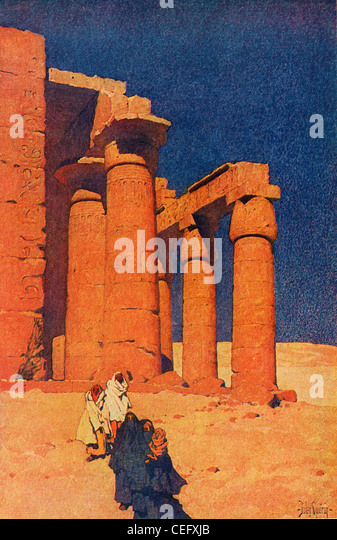 "Plate 2, ""The Ramesseum, Thebes,"" by Jules Guerin, 1920, J. H. Jansen, Cleveland, Publisher. - Stock Image"