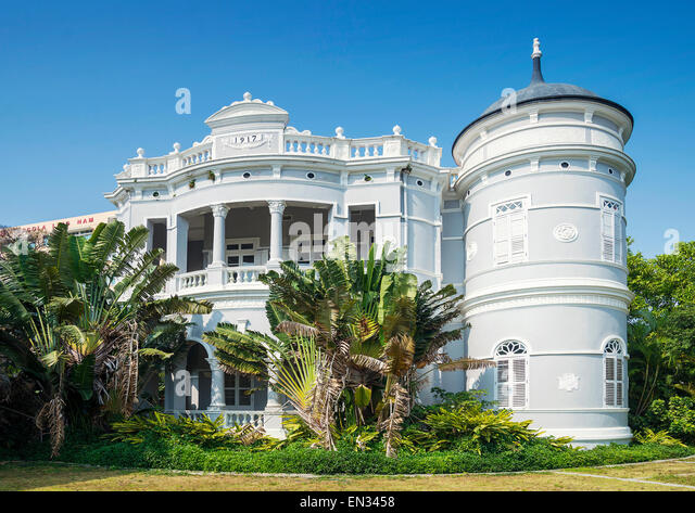 portuguese colonial architecture old mansion in macau china - Stock Image