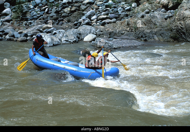 Honduras Cangrejal River whitewater rafting horizontal Pico Bonito National Park adventure travel Central America - Stock Image