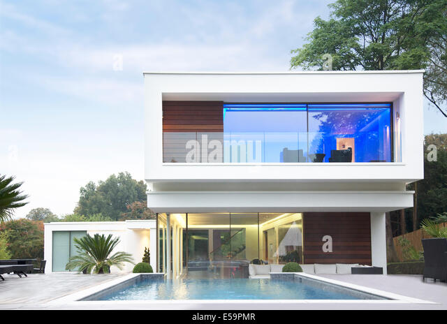 Glowing room of modern house - Stock Image