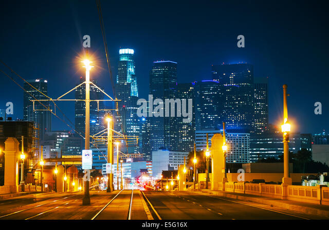 Los Angeles cityscape at the night time - Stock Image