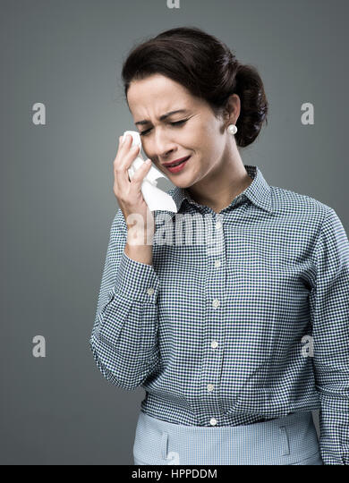 Depressed Woman Crying Cry 1950's Stock Photo...