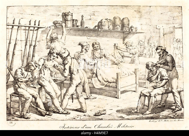 baron Louis-Albert-Guillain Bacler d'Albe, French (1761-1824), Interior of a Military Chamber, lithograph - Stock-Bilder