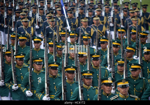 Quezon, Philippines. 7th Dec, 2016. Soldiers from the Armed Forces of the Philippines (AFP) parade during the AFP - Stock Image