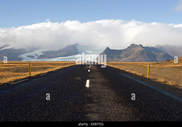 Road to nowhere; desolate Route 1, or the Ring Road, in the Skaftafell National Park area iceland - Stock Image