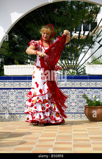 Beautiful middle aged Spanish woman costume, Andalucia, Spain, - Stock Image