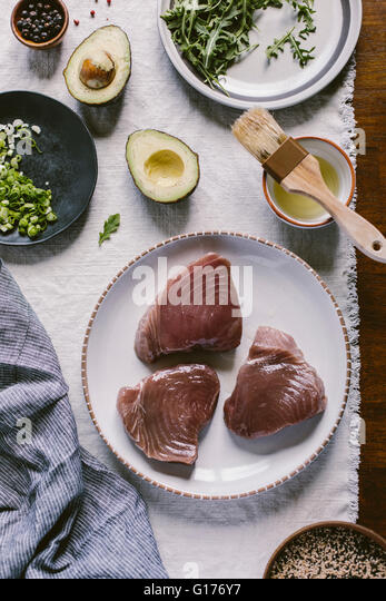 Ingredients for Sesame Crusted Seared Tuna Salad Bowl are photographed from the top view - Stock Image