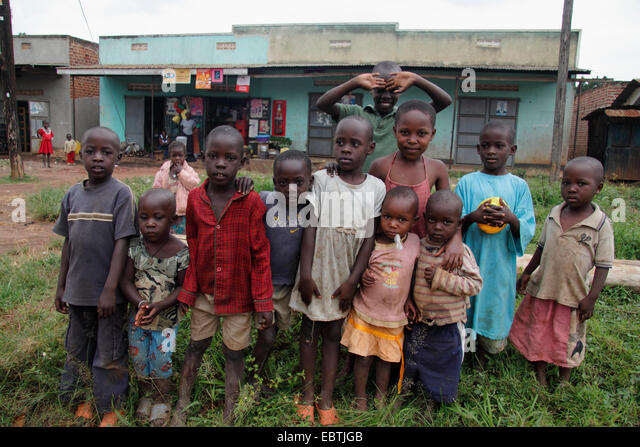 group of african children, Uganda - Stock Image