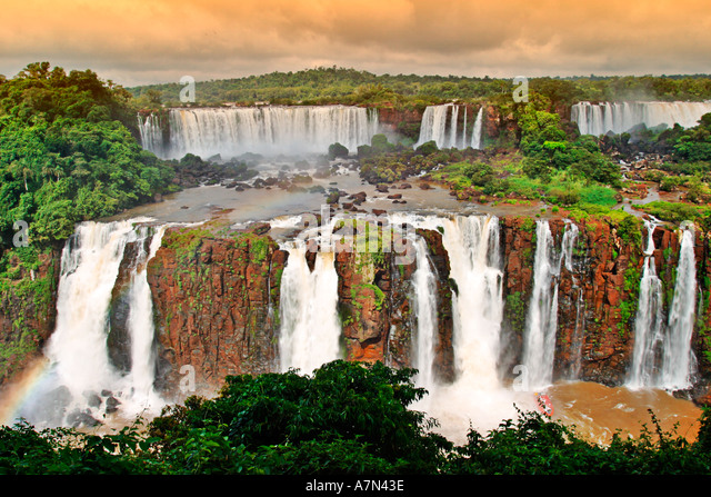 Argentina Brazil Iguazu Falls huge falls at the border of Brazil and Argentina - Stock Image