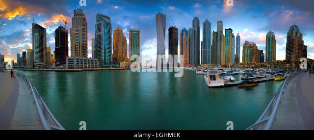 Dubai Marina Panorama - Stock Image