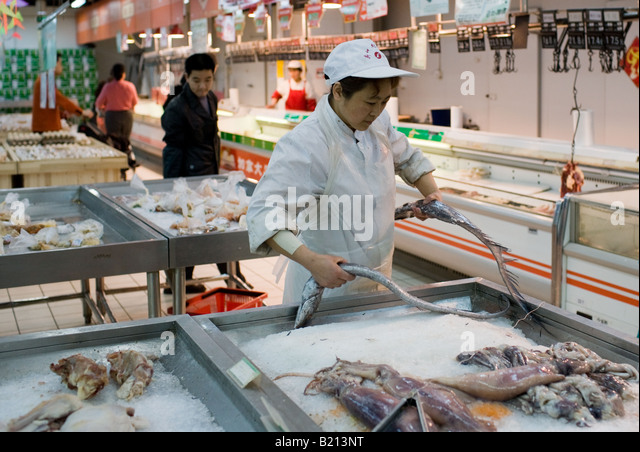 Chinese food supermarket interior stock photos chinese for Fresh fish store
