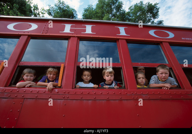Ohio Lebanon Turtle Creek Valley Railway coach car young passengers on excursion - Stock Image