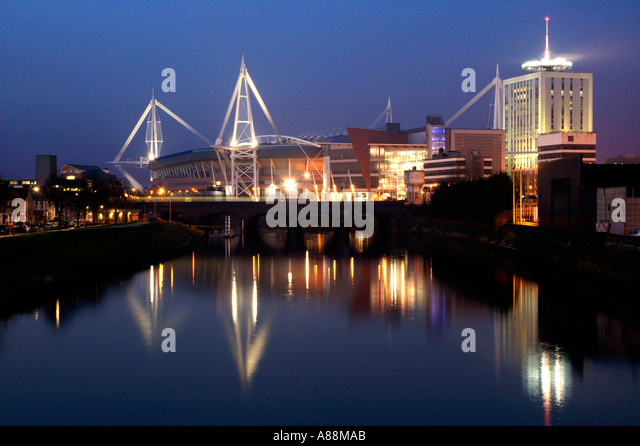 Millennium Stadium River Taff Night Stock Photos