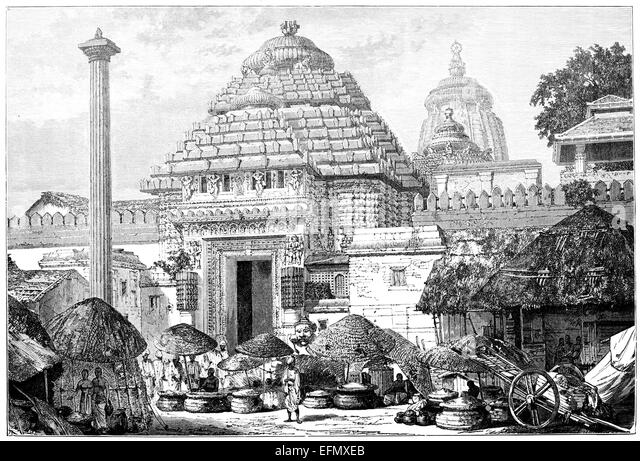 Victorian engraving of a  temple entrance, India - Stock Image