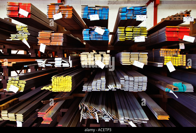 Industry, UK - Steel joists on a rack at a manufacturing firm, UK - Stock-Bilder