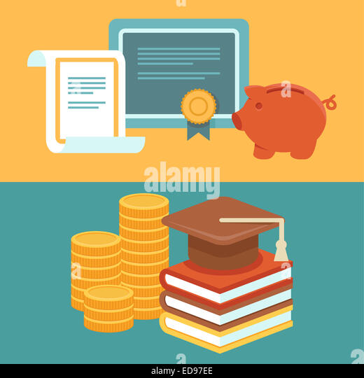Invest in education concept in flat style - stack of coins and book with university hat - Stock-Bilder