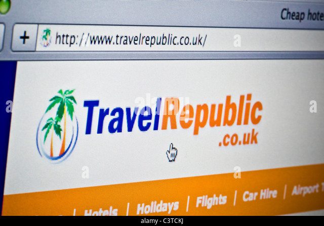 Close up of the Travel Republic logo as seen on its website. (Editorial use only: ­print, TV, e-book and editorial - Stock-Bilder