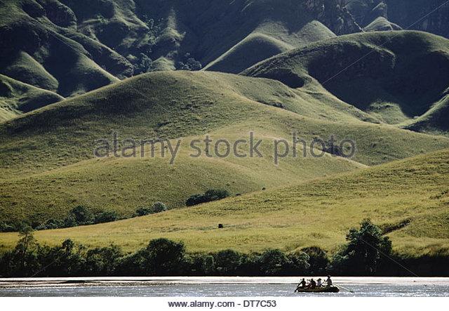 Tourists rafting on Mahajilo river Madagascar Mahajilo river Madagascar - Stock Image