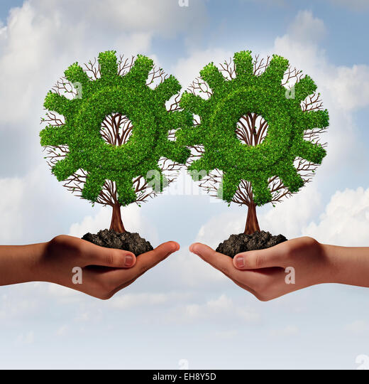 Team business strategy concept as two hands holding connected trees shaped as a gear or cog as a growing financial - Stock-Bilder