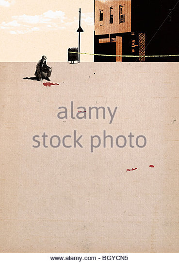 Man looking at crime scene - Stock Image