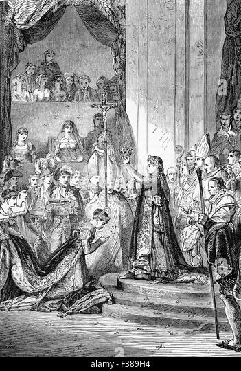 The coronation of Napoleon I as Emperor of the French, which took place in Notre-Dame Cathedral on Sunday December - Stock-Bilder