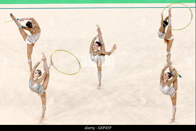 Rio De Janeiro, Brazil. 21st Aug, 2016. The Russian gymnasts compete to win the rhythmic gymnastics group all-around - Stock-Bilder
