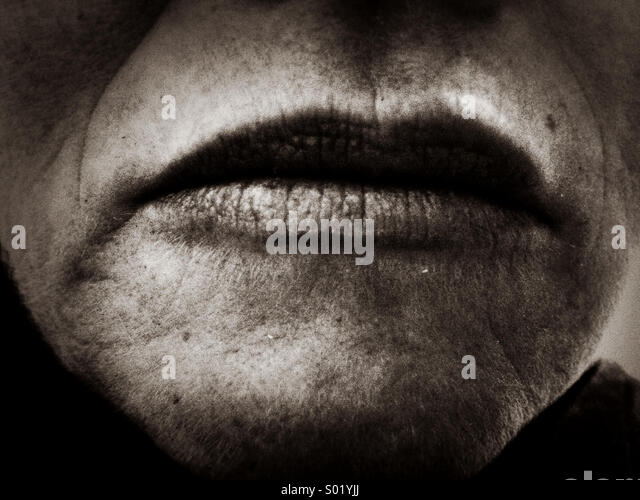 Close up of middle aged woman's mouth - Stock Image