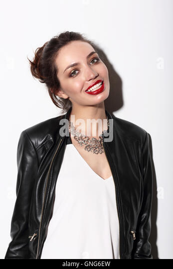 Fashionable young woman, lifestyle. Fashion style, smile, laugh. - Stock Image