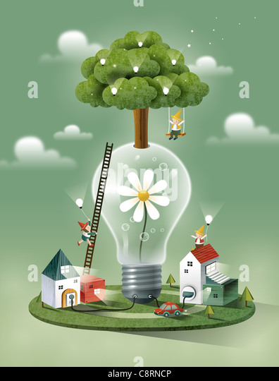 Tree On Electricity Bulb - Stock Image