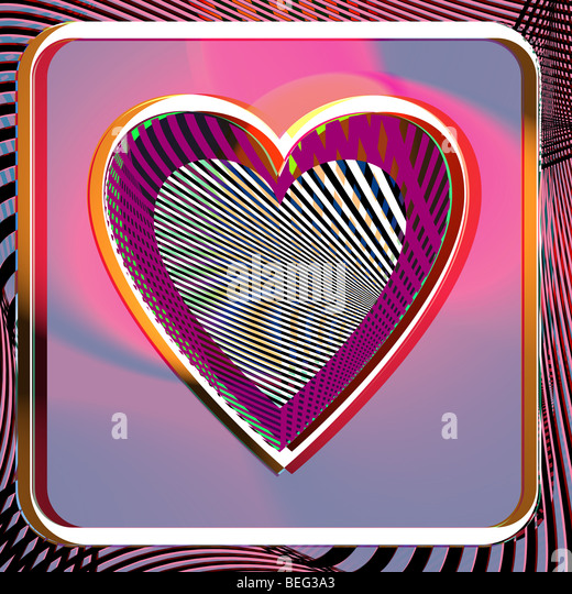 Illustration of Abstract colorful heart - Stock Image